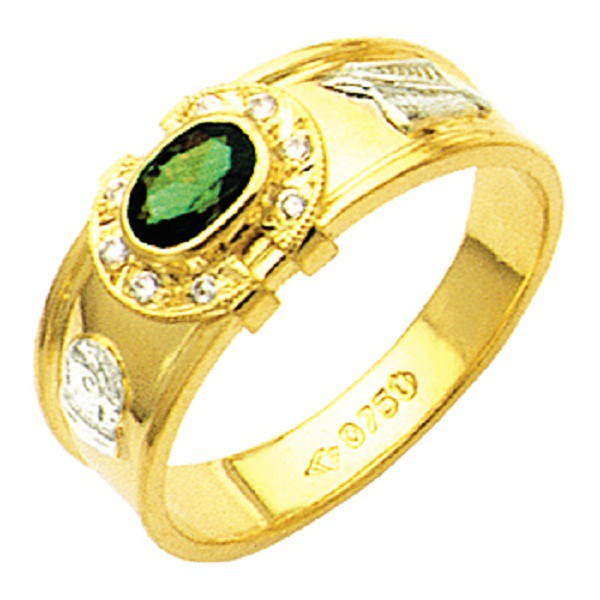 Anel de formatura reforçado com diamantes em ouro 18k 750