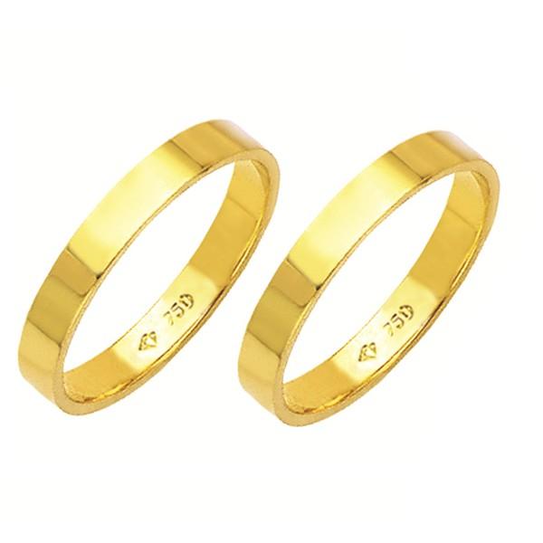 Alianças de casamento e noivado em ouro 18k 750 tradicional reta 3 mm