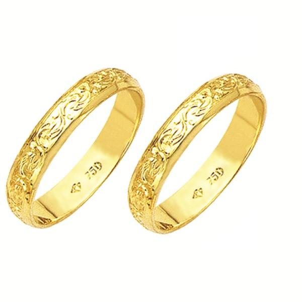 Alianças de casamento e noivado em ouro 18k 750 trabalhadas 4,10 mm