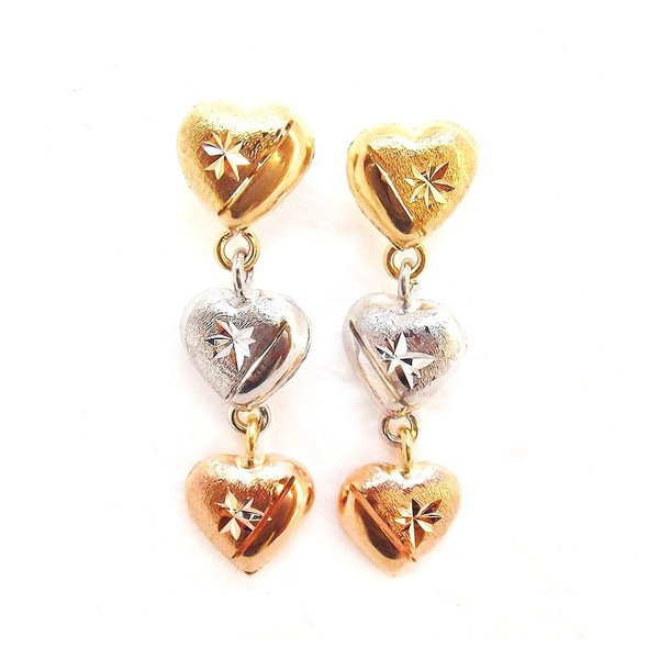 Brinco de Ouro 3 cores Colored Hearts