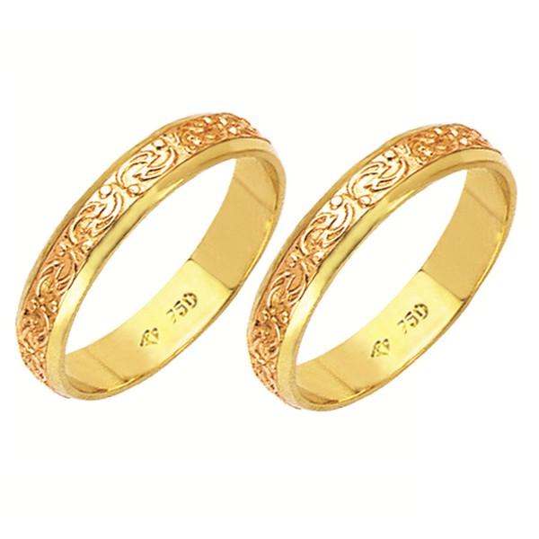 Alianças bodas de ouro em ouro amarelo e ouro vermelho 18k 750 4 mm