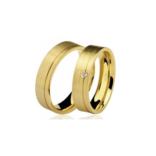 Alianças de casamento e noivado em ouro 18k 750 trabalhadas em fosco com pedra 6,50 mm