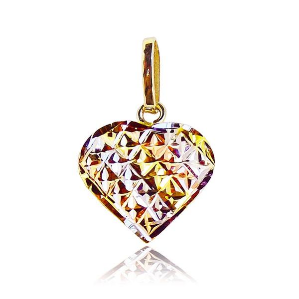 Pingente de Ouro Mini Coração 3 Ouro Branco, Vermelho e Amarelo