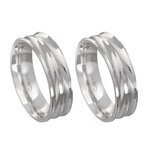 Alianças de compromisso em prata 950 modelo diamantado 6 mm