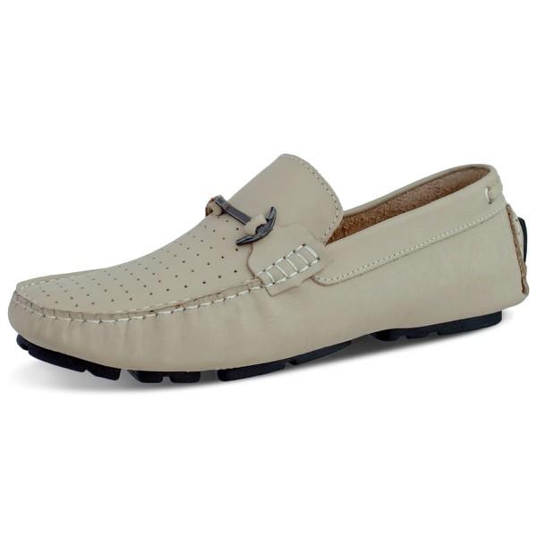 Sapato Mocassim Masculino Couro Legitimo-Couro-Marfim