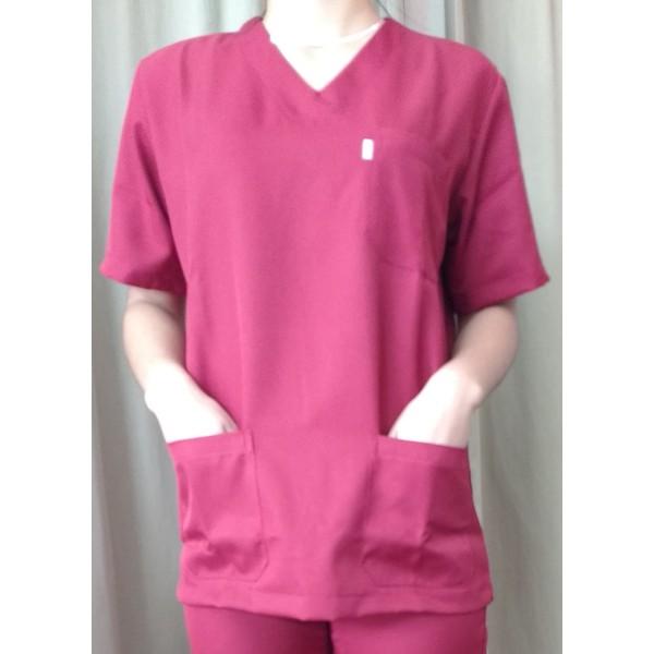 blusa Cirúrgica unissex em Microfibra Gola V Manga Curta - Vinho