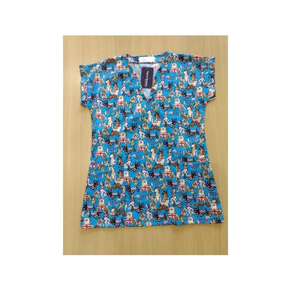 blusa Cirúrgica azul dogs 100% algodão