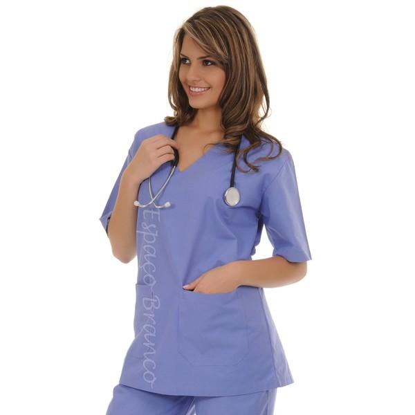 Conjunto Cirúrgico em Algodão Hospitalar Gola V Manga Curta - Azul Real-Plus Size