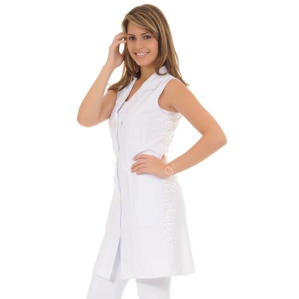 Jaleco Feminino Acinturado sem manga Gola sport em Microfibra fina Branco Plus Size