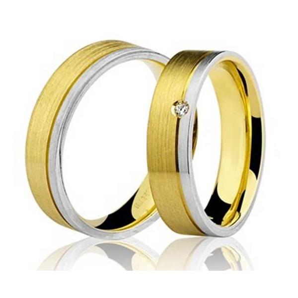 Par de Aliança Casamento de Ouro Branco e Amarelo 18k Com 4mm e Diamante De 1 Ponto