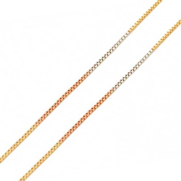 Corrente De Ouro Tricolor 18k Veneziana De 0,5mm Com 40cm