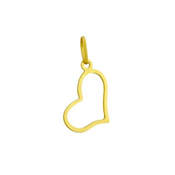 Pingente De Ouro 18k Coração De 12mm