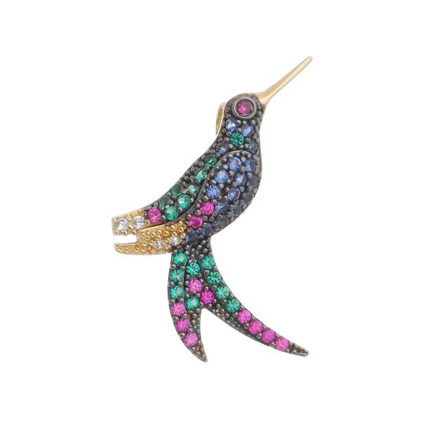 Pingente De Ouro 18k Beija-flor Grande