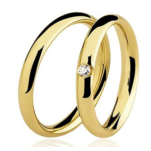 Par de Aliança Casamento de Ouro 18k Com 2.5mm e Diamante De 3 Pontos