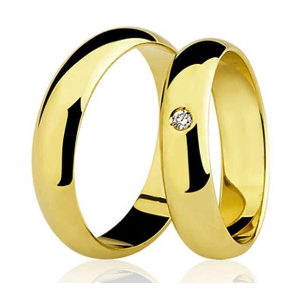 Par de Aliança Casamento de Ouro 18k Com 5mm e Zircônia De 2,0mm