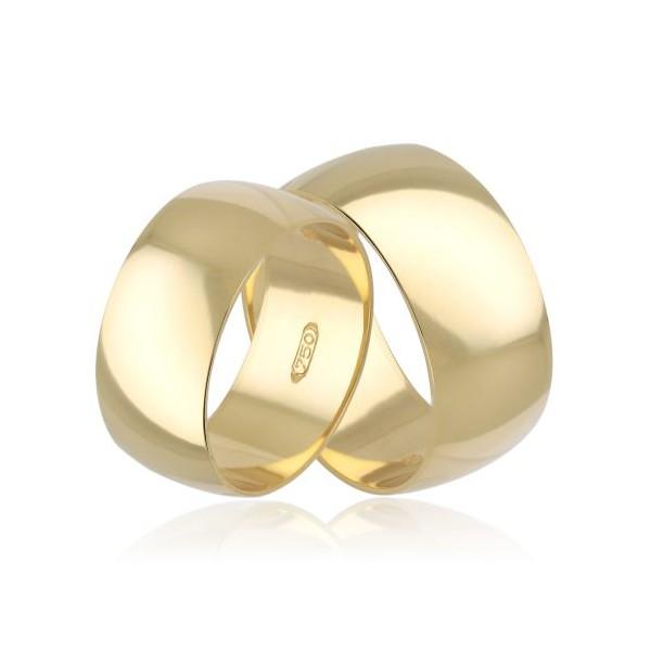 Par de Aliança Casamento de Ouro 18k Anatômico Com 8mm