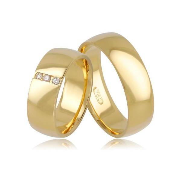 Par de Aliança Casamento de Ouro 18k Anatômico Com 7mm e Três Zirconias