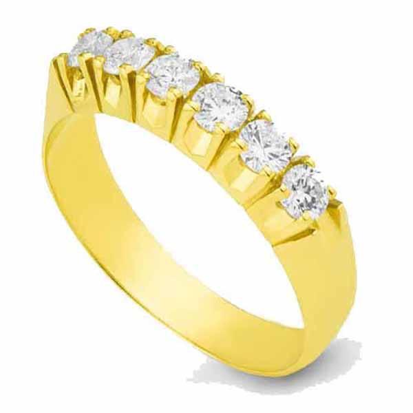 Meia Aliança De Ouro 18k Com 6 Diamantes De 10 Pontos