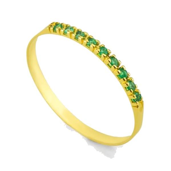 Meia Aliança De Ouro 18k Com 9 Esmeraldas De 1 Ponto