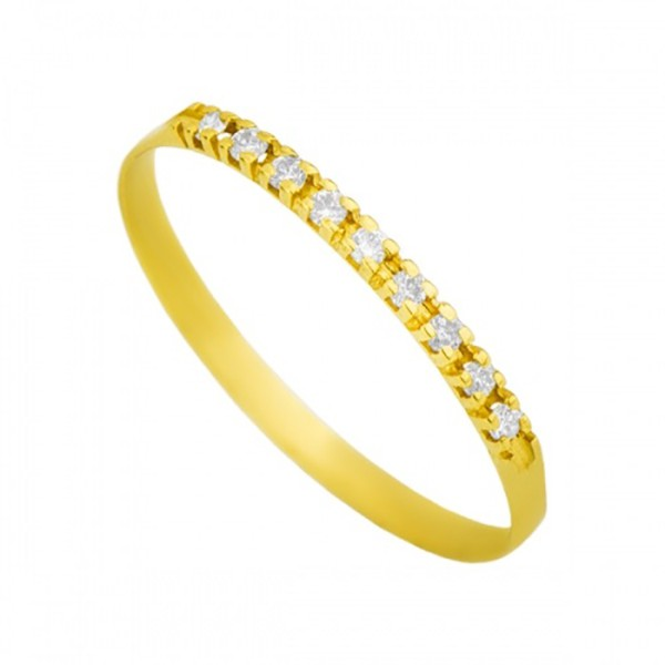 Meia Aliança De Ouro 18k Com 9 Diamantes De 1 Ponto