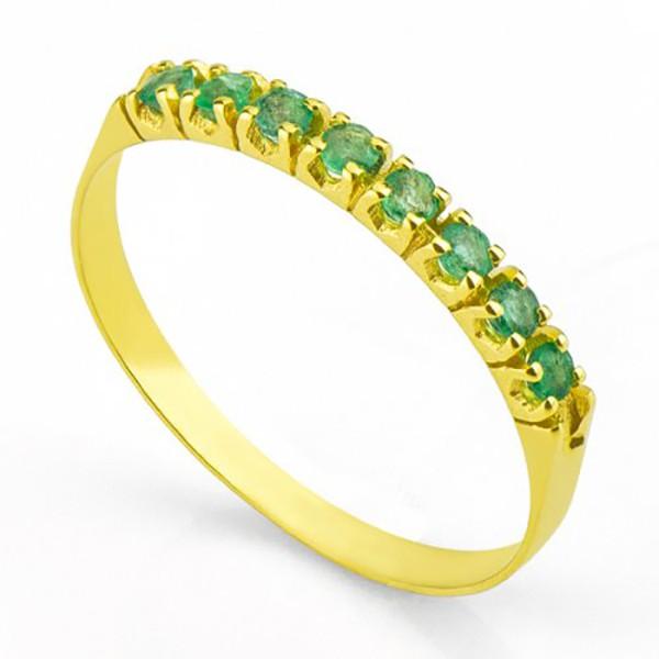 Meia Aliança De Ouro 18k Com 8 Esmeraldas De 3 Pontos