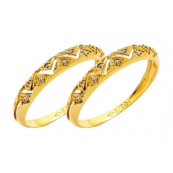 Par De Aparadores De Ouro 18k Com Diamantes De 1 Ponto
