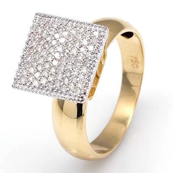 Anel De Ouro 18k Pavê Quadrado De Diamantes De 1 Ponto