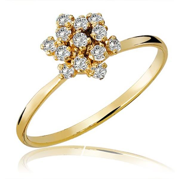 Anel De Ouro 18k Chuveiro Estrela Com Zircônias