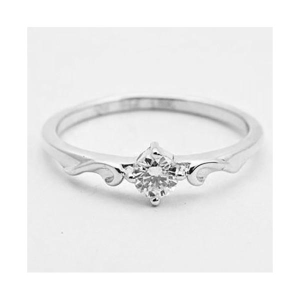Anel De Ouro Branco 18k Solitário Com Diamante De 15 Pontos