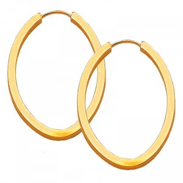 Brinco De Ouro 18k Argola Oval 14mm