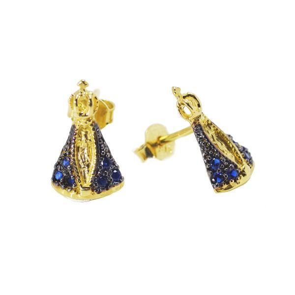 Brinco De Ouro 18k Nossa Senhora Da Aparecida Com Pedras