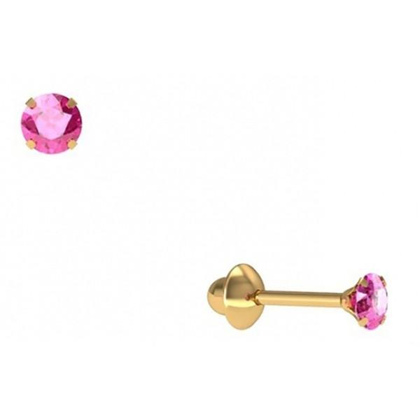 Brinco De Ouro 18k Zircônia Rosa De 3mm