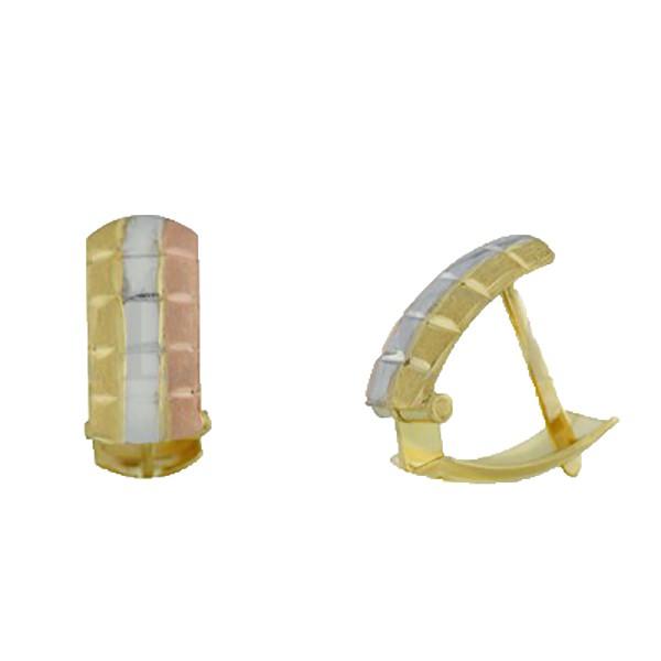 Brinco De Ouro 18k Meia Argola Tricolor De 12mm
