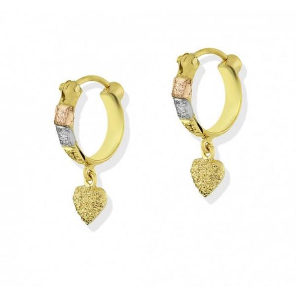 Brinco De Ouro 18k Argola Tricolor Diamantada Com Coração