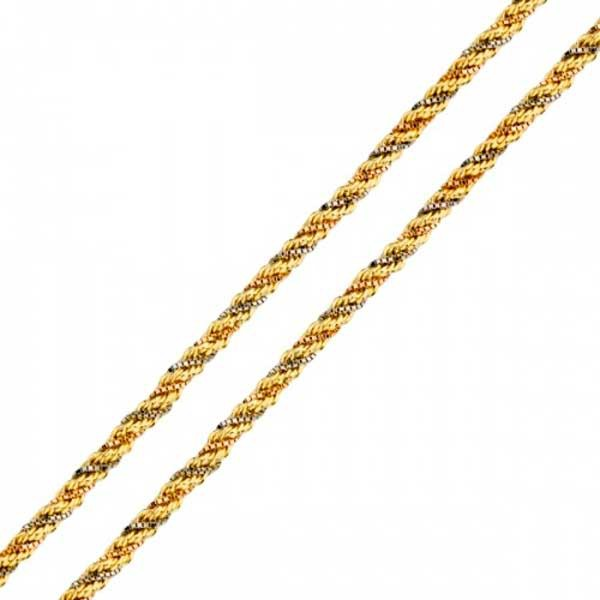Corrente De Ouro 18k Corda Tricolor De 2,2mm Com 45cm