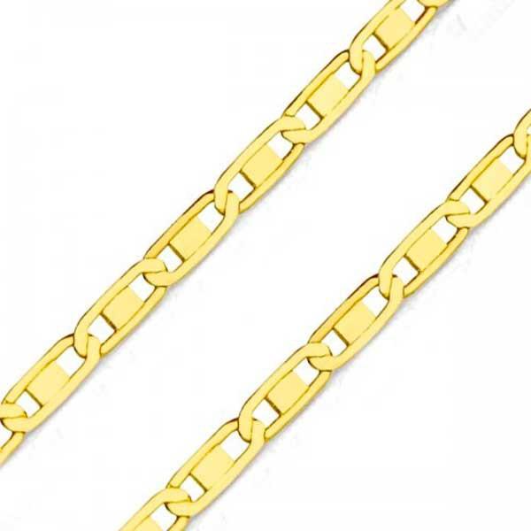 Corrente De Ouro 18k Piastrine Trabalhada De 2,4mm Com 70cm