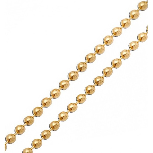 Corrente De Ouro 18k Elo Bolinha De 1,2mm Com 50cm