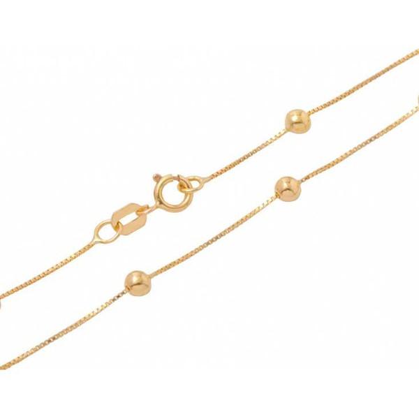 Corrente De Ouro 18k Veneziana Com Bolinhas De 5,0mm Com 45cm
