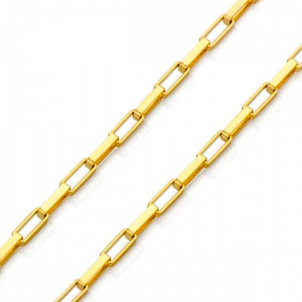 Corrente De Ouro 18k Veneziana Longa De 1,3mm Com 40cm