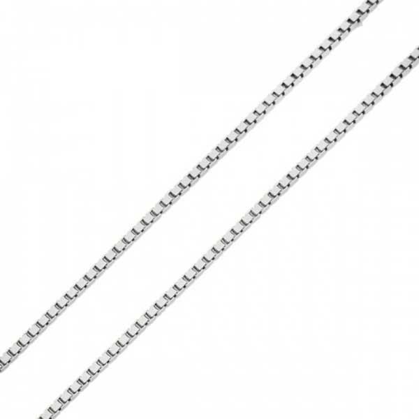 Corrente De Ouro Branco 18k Veneziana De 0,7mm Com 50cm