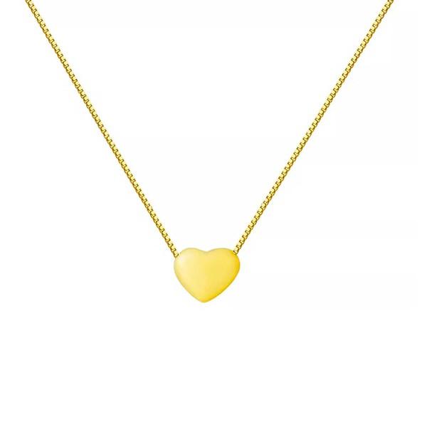 Corrente De Ouro 18k Veneziana Com 40cm e Coração Fixo