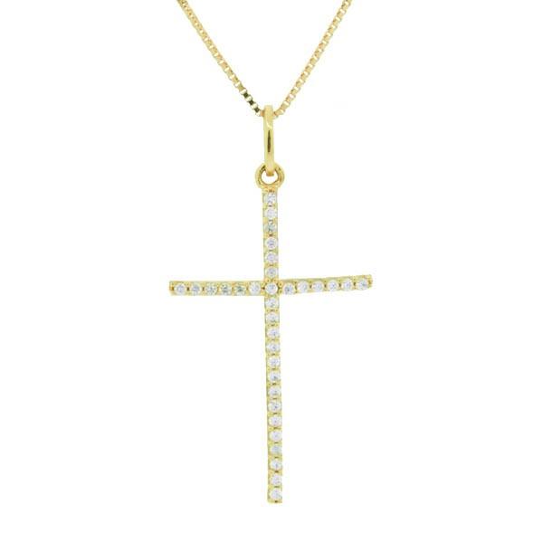Pingente De Ouro 18k Cruz Com Zircônias 2,5cm