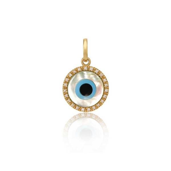 Pingente De Ouro 18k Olho Grego De 5,0mm Com Diamantes