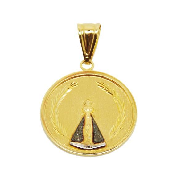Pingente De Ouro 18k Medalha De Nossa Senhora Da Aparecida