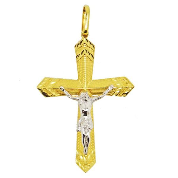 Pingente De Ouro 18k Crucifixo De 37mm
