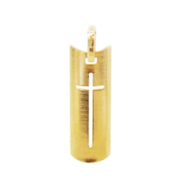 Pingente De Ouro 18k Placa Com Cruz De 27mm