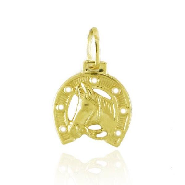 Pingente De Ouro 18k Cavalo Com Ferradura 15mm