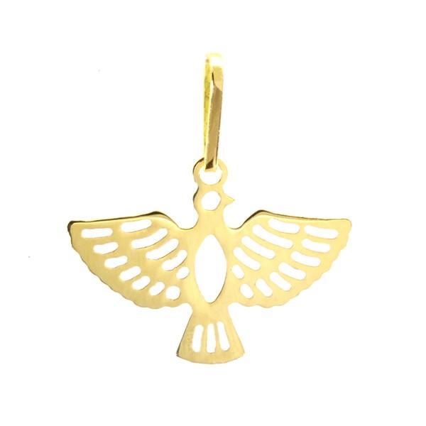 Pingente De Ouro 18k Espírito Santo Com 16mm