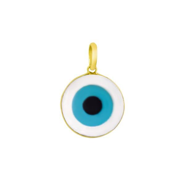 Pingente De Ouro 18k Olho Grego Em Madrepérola Redondo De 8mm