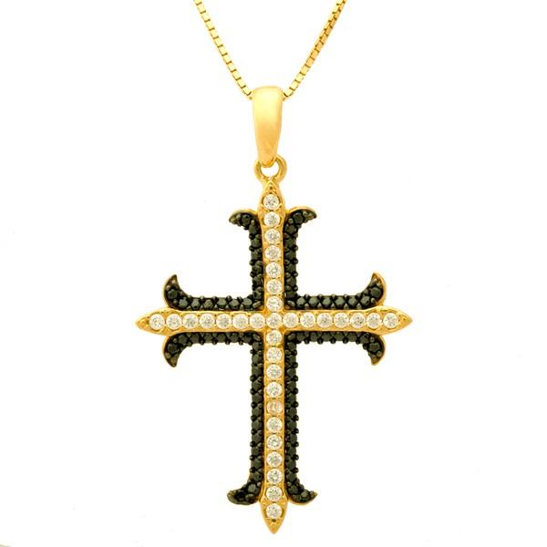 Corrente De Ouro 18k Veneziana De 40cm Com Pingente De Cruz